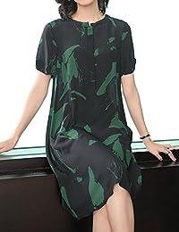 DVG 连衣裙女装夏装新款气质名媛印花长裙休闲大码宽松裙子女 DW8502