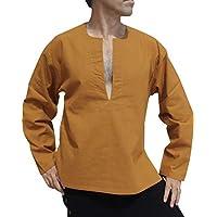 Raan Pah Muang 棉质面料开胸长袖衬衫加大码