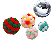 猫咪球玩具带铃铛猫咪小猫宠物 4 个装软猫绒球互动玩具多彩猫球 多色