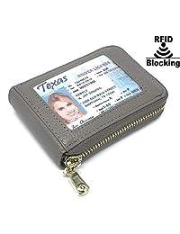 RFID 屏蔽男式女式皮革钱包身份证卡夹皮革卡套 - 灰褐色