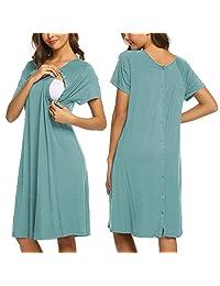 Ekouaer 女式哺乳/分娩/*睡衣短袖孕妇睡衣带纽扣 S-XXL
