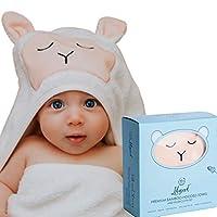"""优质婴儿连帽浴巾和毛巾套装 - *软竹婴儿毛巾带帽,适合男孩或女孩,婴儿,幼儿 - 婴儿送礼礼物 - 低*性 - XL - 白色 - 甜蜜动物脸 White Towel with Light Peach Lamb Face Extra Large 40"""" X 30"""""""