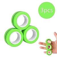手指磁性环玩具 - 磁铁手链环耐用解锁手指环魔术环道具工具减压器旋转成人玩具 *