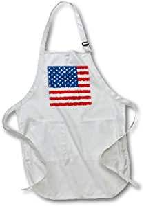 "3dRose Painted American Flag- Patriotic Art- USA Full Length Apron with Pockets, 22 by 30"", White"