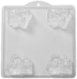 World Of Moulds 4-Cavity 3D 猫肥皂/浴炸弹模制品,PVC,25.5 x 24 x 4 厘米
