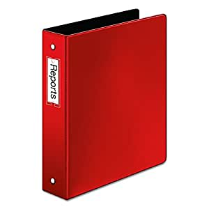 Cardinal Premier Easy Open Locking Round Ring Binder, 1.5-Inch, Red with Label Holder (18828)