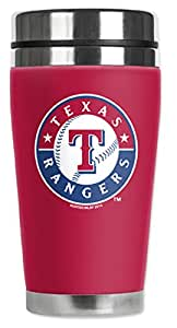 Mugzie Texas Rangers Travel Mug with Insulated Wetsuit Cover, 16 oz, Black