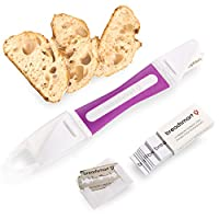 Breadsmart – 工匠面包烘焙工具套装 – 5 件套 – 包括带 10 个替换刀片的Lame、丹麦面团打蛋器、带可重复使用的内衬的校样横幅、长凳刮刀和食谱指南 紫色 Baker's Lame Set