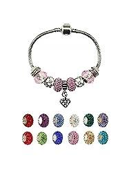 心形坠饰手链带魅力潘多拉适用于女孩圣诞生日礼品创意粉色  粉色