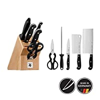 WMF 带座亚式刀具6件套,3把锻造刀,1把剪刀,1把磨刀,1件榉木刀座,优质裁切