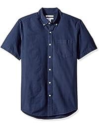 Amazon Essentials Men's Regular-Fit Short-Sleeve Solid Pocket Oxford Shirt, Navy, XX-Large