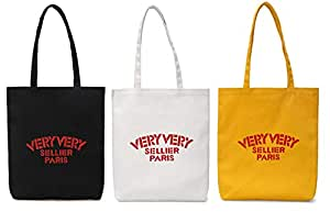 AARainbow 棉质帆布可重复使用女士重型帆布购物袋杂货包帆布手提包单肩包手提包 1 Black+1 White+1 Yellow Slogan
