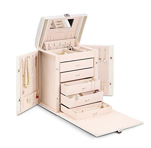 Vlando大型ジュエリーボックス収納ボックス、5大引き出し女性の絶妙なギフトボックス白B019I8RAI4