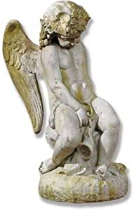 XoticBrands OSFSAK233W-L Como Cherub & Lion with Wings 户外雕像