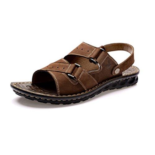 PLAYBOY 花花公子夏季真皮男凉鞋 穿拖两用凉拖鞋沙滩鞋 男士百搭休闲露趾凉皮鞋 潮