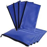 8 件银行存款钱袋人造革*乙烯基蓝色拉链袋钱包实用拉链零钱袋,11x6 英寸