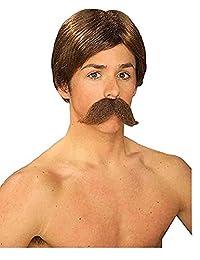 Forum Novelties 男士 Burt The Bandit 新颖假发和小胡子 120 months to 1200 months Forum Novelties Burt Wig & Moustache-brown 标准 棕色