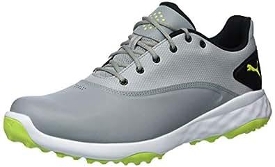 PUMA 彪马 男式 Grip 时尚高尔夫鞋 Quarry/Acid Lime/Black 7.5