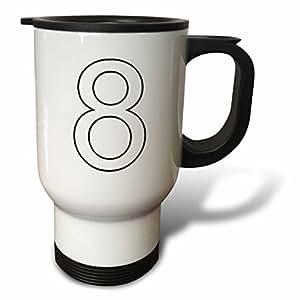3dRose 数字 - 8 号 - 旅行马克杯 白色 14oz Travel Mug tm_3173_1