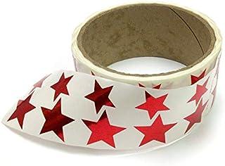 金属箔星形贴纸,各种尺寸,9.53 厘米和 2.54 厘米 - 每卷 476 个标签,卷上带有穿孔,每 10 个标签后 红色