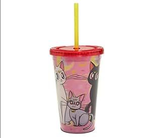 """JUST FUNKY Sailor Moon 官方""""美少女战士小屋""""特色是 Luna、Artemis & Diana 优质杯子旅行杯,16 盎司(不含BPA)"""