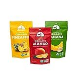 Mavuno Harvest Fair Trade Organic Dried Fruit Variety Pack, Mango, Pineapple, and Banana, 3 Count