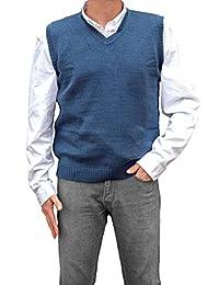 TINKUY PERU - 秘鲁羊驼毛 - 男式针织 V 领套头毛衣经典背心 - 钢蓝色
