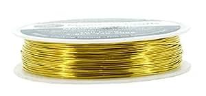 Mandala Crafts 18 20 22 24 26 28 号厚实实铜线串珠包装首饰制作 金色 24 Gauge 28M CA-OF-8F13-LEIG