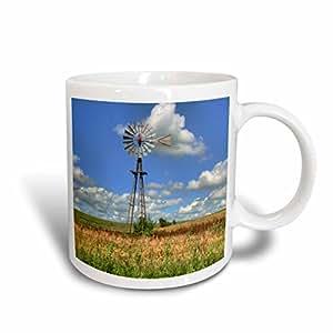 3drose danita delimont–MICHAEL scheufler–风车–美国,堪萨斯 . WINDMILL 景观–马克杯 白色 15-oz