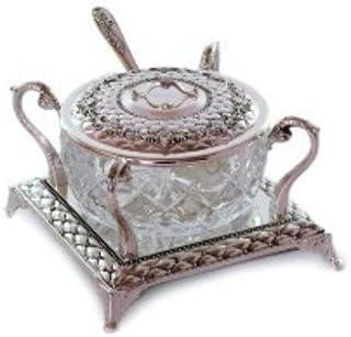 优质 Judaica Rosh Hashanah 玻璃蜂蜜餐盘带镀银勺和盖