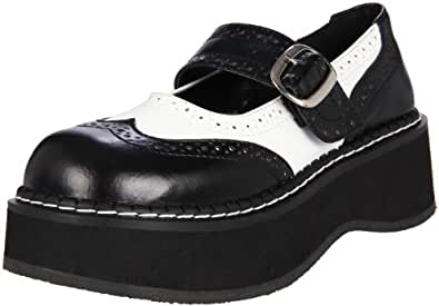 Demonia EMILY-302 Blk-Wht Vegan Leather UK 5 (EU 38)