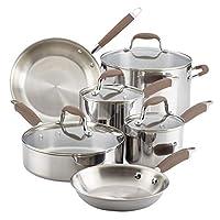 Anolon 31521 10-Piece Stainless Steel Cookware Set, Bronze Handles