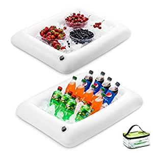 优质充气沙拉*吧托盘带新创新阀门,方便充气 - 户外用品充气 适用于野餐、*吧和派对的食品和饮料架 - 132.08cm x 55.88cm x 11.43cm 白色 43235-199486