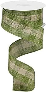 编织帆布格子有线边缘丝带 - 10 码 Moss Green, Beige 1.5英寸 RGA176952