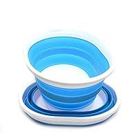 SAMMART 可折叠塑料洗衣篮 - 椭圆形浴缸/篮子 - 可折叠存储容器/收纳盒 - 便携式洗涤桶 - 节省空间的洗衣篮 天蓝色