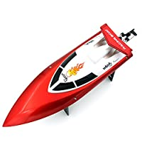 DOPLUS Auto-Flip RC Boat for 儿童和成人 2.4GHz 无线遥控高速赛车,红色