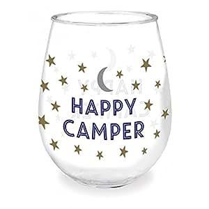 Happy Camper Stars and Moon 亚克力无*杯,16 盎司 蓝色 2片装 727-11