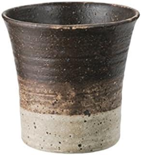 常滑烧0-220 山田 茶釉线纹烧*杯 AM-T1753