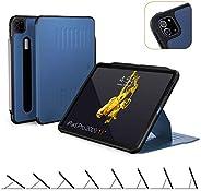 ZUGU CASE(新款)Alpha 保护套适用于 2020 iPad Pro 12.9 英寸 - 超薄保护壳 - 无线 Apple 铅笔充电 - 便捷的磁性支架和*/唤醒盖(*蓝)