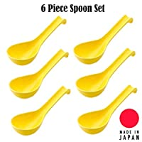 "Hinomaru Collection 日本瓷勺 6件装 汤勺 6英寸(约15.2厘米)长 Wonton 荞麦面 炒面 汤勺 家用厨房或餐厅用品 日本制造 黄色 6""L"
