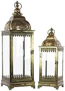 带戒指吊架的金属灯笼,玻璃边和方形底座套装 两套穿孔电镀青铜