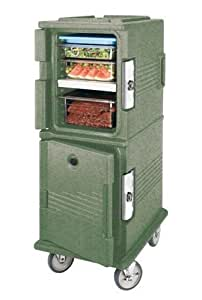 Cambro UPC800TR-192 Ultra Camcart Polyethylene Shell Double Compartment Tamper Resistant Cart with Security Package, 54-Inch, Granite Green