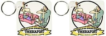 kc_103615 Dooni Designs Worlds Greatest Cartoons - Funny Worlds Greatest Therapist Occupation Job Cartoon - Key Chains