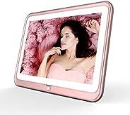 数码相框,HP 10.1 英寸 WiFi 相框,1280 x 800 高清显示屏,8 GB 内置存储,iPhone 和 Android 应用程序,支持照片、音乐、日历内置扬声器(玫瑰金)
