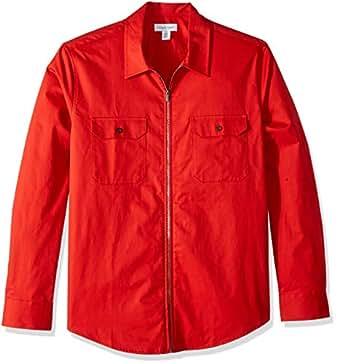 Calvin Klein 男士长袖全拉链衬衫 血橙色 Small