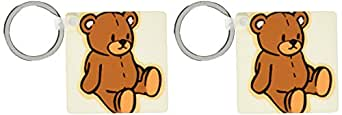kc_37353 Florene Childrens Art - Cute Brown Teddy Bear - Key Chains