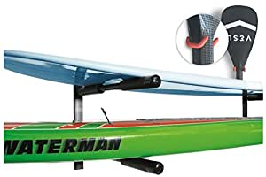 Cor Surf | 2 Boards Double SUP | Surfboard | Paddle Board Wall Rack | Heavy Duty Mount | Free Paddle Hook Included