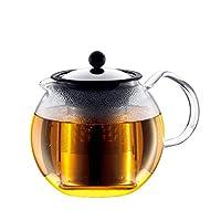 BODUM 1801-16 ASSAM茶压机,永久过滤器,玻璃手柄,1.0 L / 34盎司) - 黑色/透明
