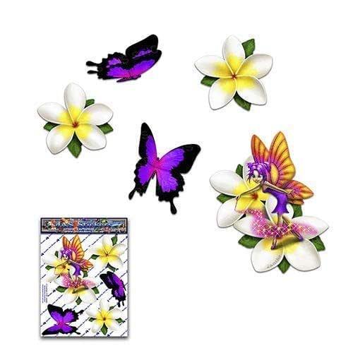 小FAIRY Fantasy Frangipani Plumeria 白色花朵 + 紫色羽毛动物儿童育儿贴花汽车贴纸 - ST00062WT_SML - JAS 贴纸
