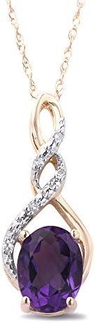 紫水晶項鏈 10k 黃金鑲鉆 - 45.72 cm 繩鏈